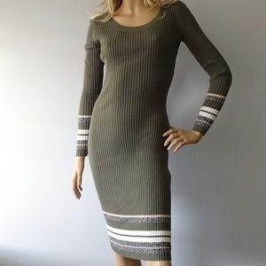 Bar III Striped Long Sleeve Mid-Calf Sweater Dress